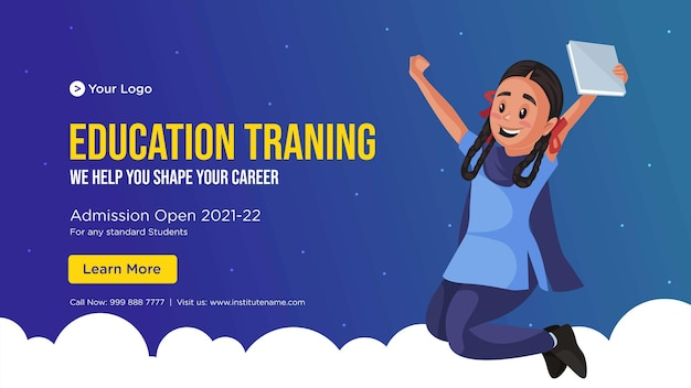 Banner design of education training cartoon style template