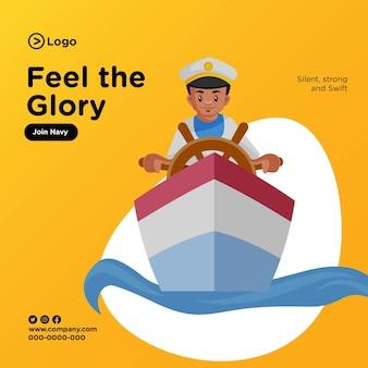 Banner design of feel the glory cartoon style illustration