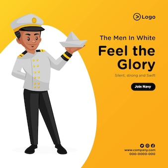 Banner design of feel the glory join navy cartoon style illustration