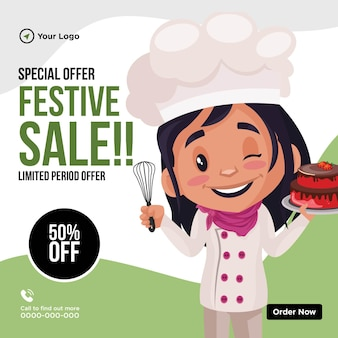 Banner design of festival sale limited period offer cartoon style template