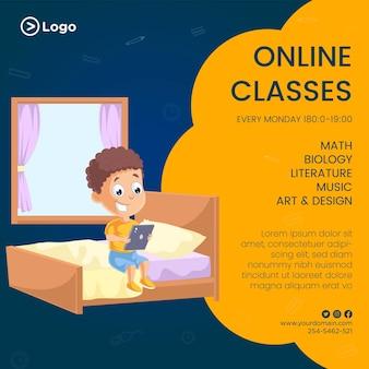 Banner design of free online classes cartoon style illustration