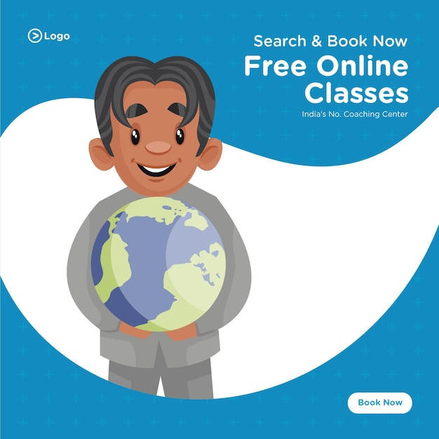 Banner design of free online classes coaching center cartoon style template