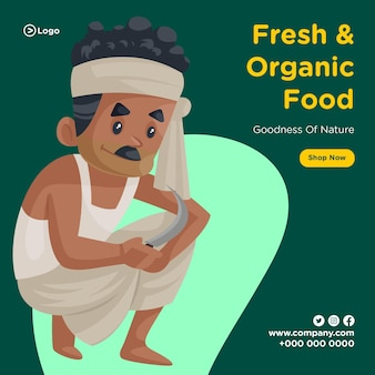 Banner design of fresh and organic food