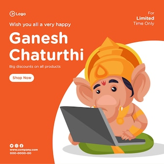 Banner design of ganesh chaturthi indian festival cartoon style template