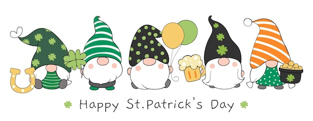 Banner design gnomes with happy st patrick's day text.