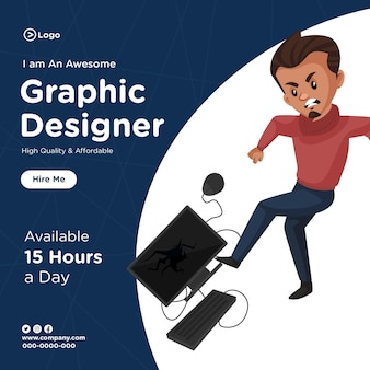 Banner design of graphic designer  cartoon style illustration