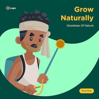 Banner design of grow naturally template