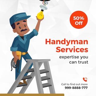 Banner design of handyman services cartoon style template