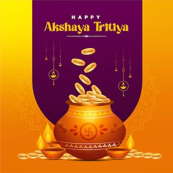 Banner design of happy akshaya tritiya festival template Premium Vector
