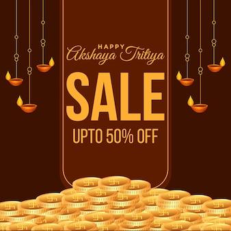 Banner design of happy akshaya tritiya sale template on brown background