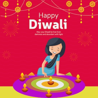 Banner design of happy diwali indian festival cartoon style template