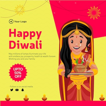 Banner design of happy diwali offer  cartoon style template