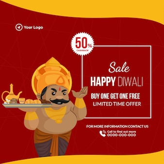 Banner design of happy diwali sale buy one get one free cartoon style template