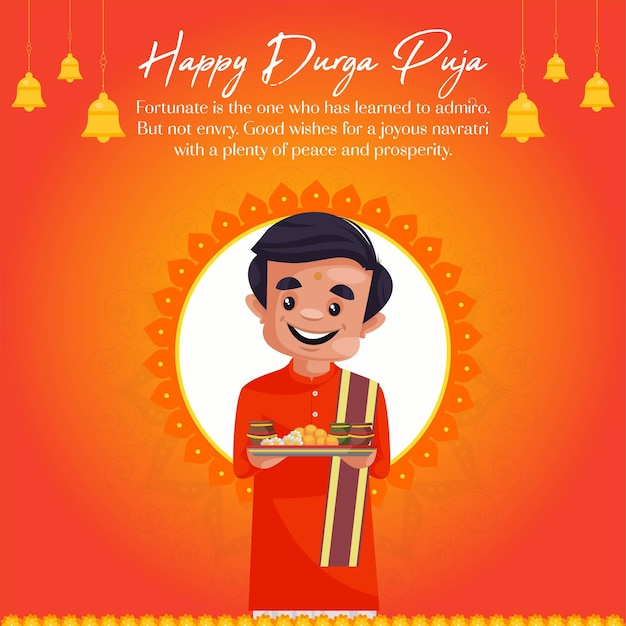 Banner design of happy durga puja template