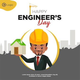 Banner design of happy engineers day cartoon style template