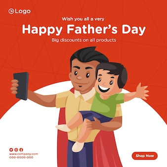 Banner design of happy fathers day discount on all products cartoon style teamplate