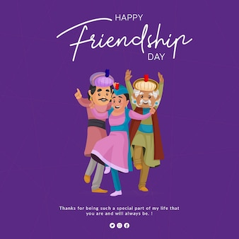 Banner design of happy friendship day cartoon style illustration