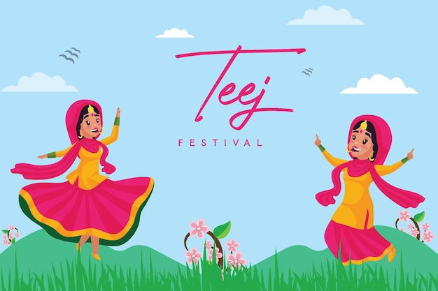 Banner design of happy haryali teej festival template