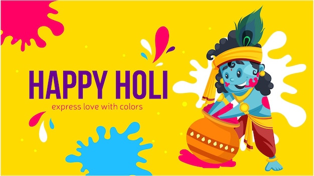 Banner design of happy holi express love with colors