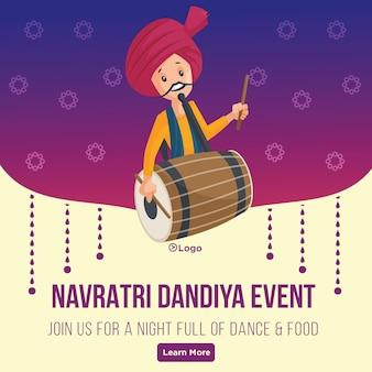 Banner design of happy navratri dandiya event indian festival template