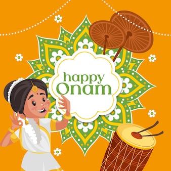 Banner design of happy onam cartoon style template