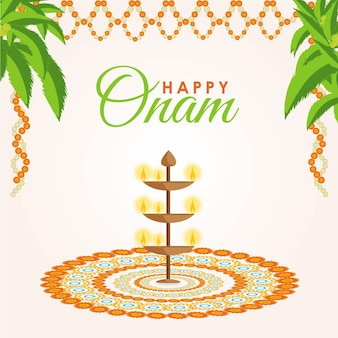 Banner design of the happy onam festival vector illustration on a white background