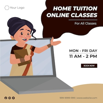 Banner design of home tuition online classes cartoon style illustration