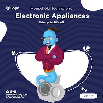 Banner design of household technology electronic appliances sale template