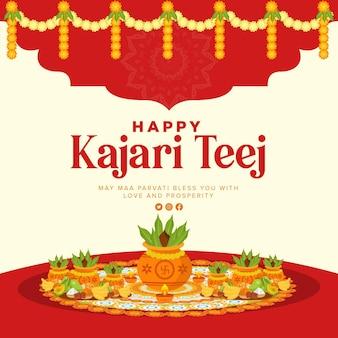 Banner design of indian festival happy kajari teej template