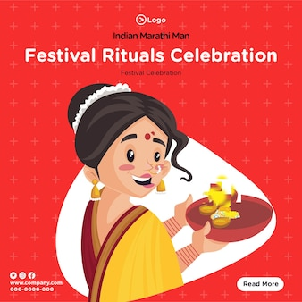 Banner design of indian marathi woman festival rituals celebration