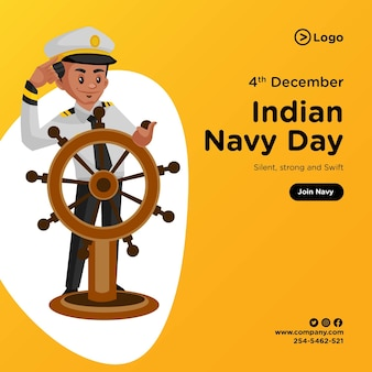Banner design of indian navy day cartoon style illustration