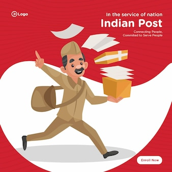 Banner design of indian post service cartoon style template