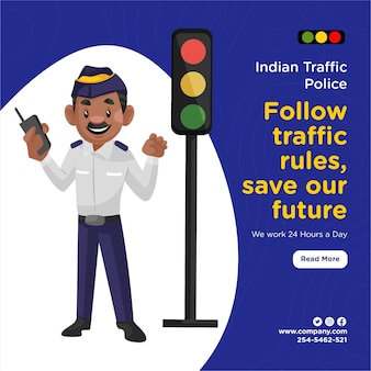 Banner design of indian traffic police follow traffic rules save our future