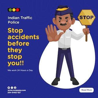 Banner design of indian traffic police stop accidents before they stop you
