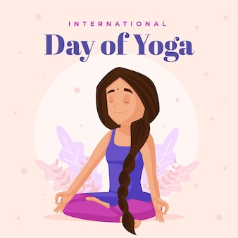 Banner design of international day of yoga cartoon style template