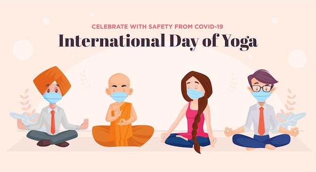 Banner design of international day of yoga celebrate with safety from covid19