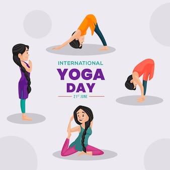 Banner design of international yoga day cartoon style template
