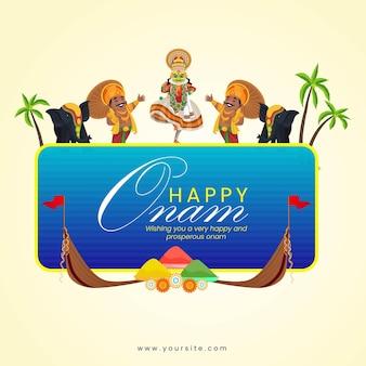 Banner design of kathakali dancer and king mahabali wishing happy onam festival vector illustration