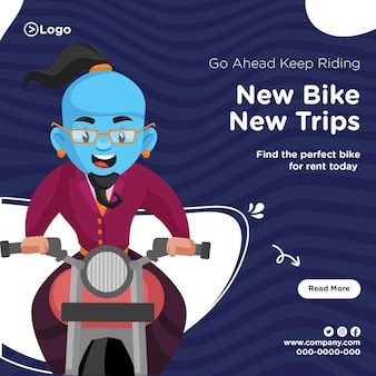 Banner design of keep riding new bike new trips template