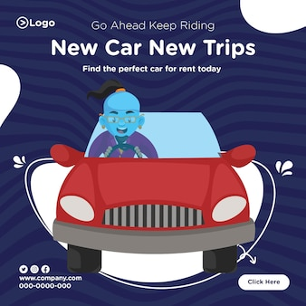 Banner design of keep riding new car new trips template