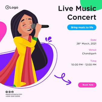 Banner design of live music concert in cartoon style