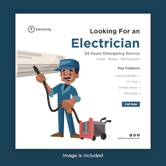 Banner design of looking for an electrician template for social media with electrician cleaning ac with a vacuum cleaner
