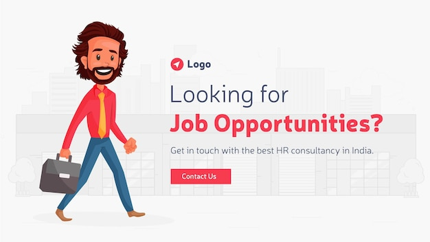Banner design of looking for job opportunities template