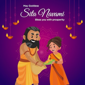 Banner design of may goddess sita navami bless you with prosperity template