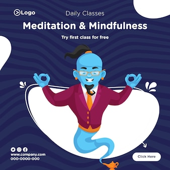 Banner design of meditation and mindfulness template