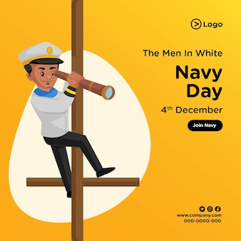 Banner design of men in white navy day cartoon style illustration