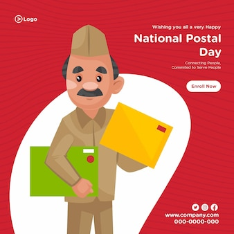 Banner design of national postal day service cartoon style template