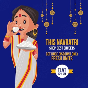 Banner design of navratri shop best sweets template