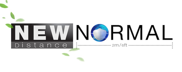 Banner design for new normal concept word and distancing peple to protect coronavius ​​(covid-19) and other epidemics.
