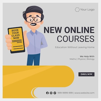 Banner design of new online courses cartoon style illustration